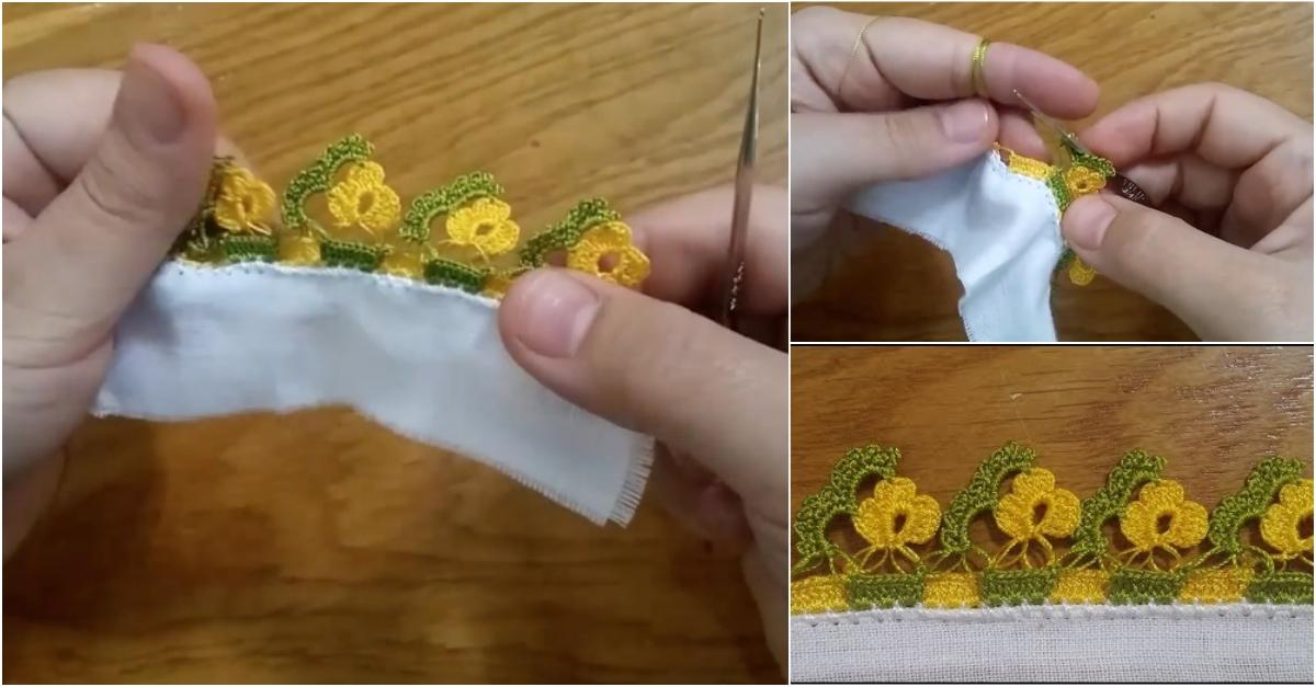Sıralı Çiçekli Tığ Oyası Yapımı