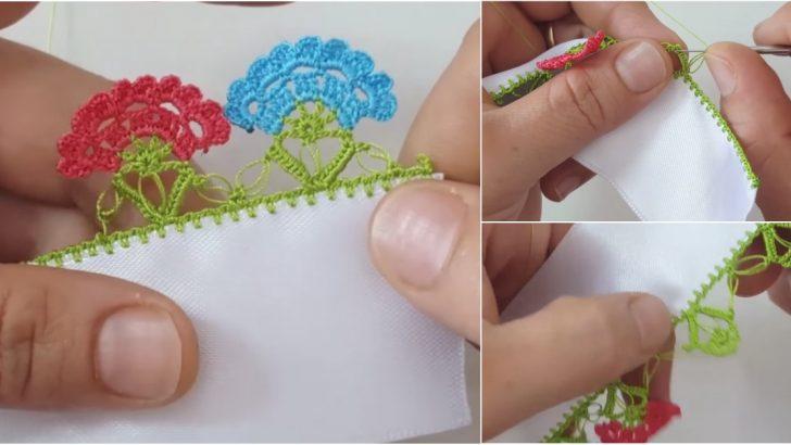 Bir Buket Çiçek Tığ Oyası Yapılışı