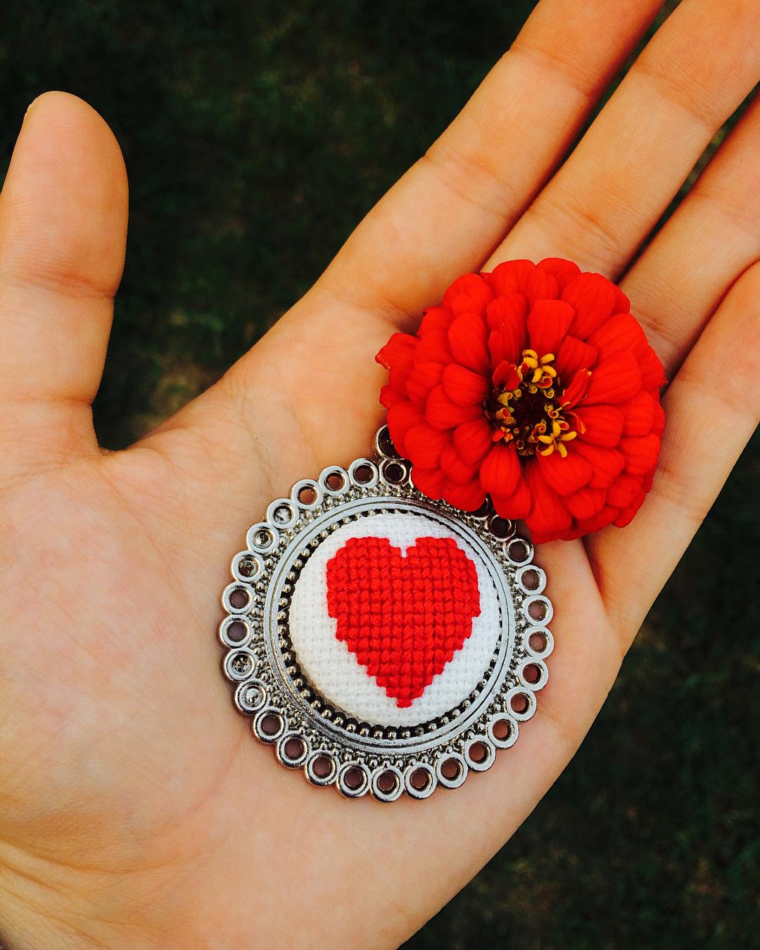 Hediyelik Kalp Kanaviçe