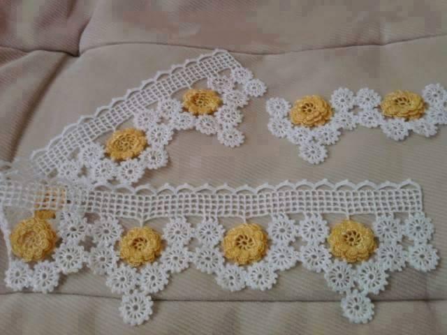 Çiçekli sarı beyaz havlu danteli