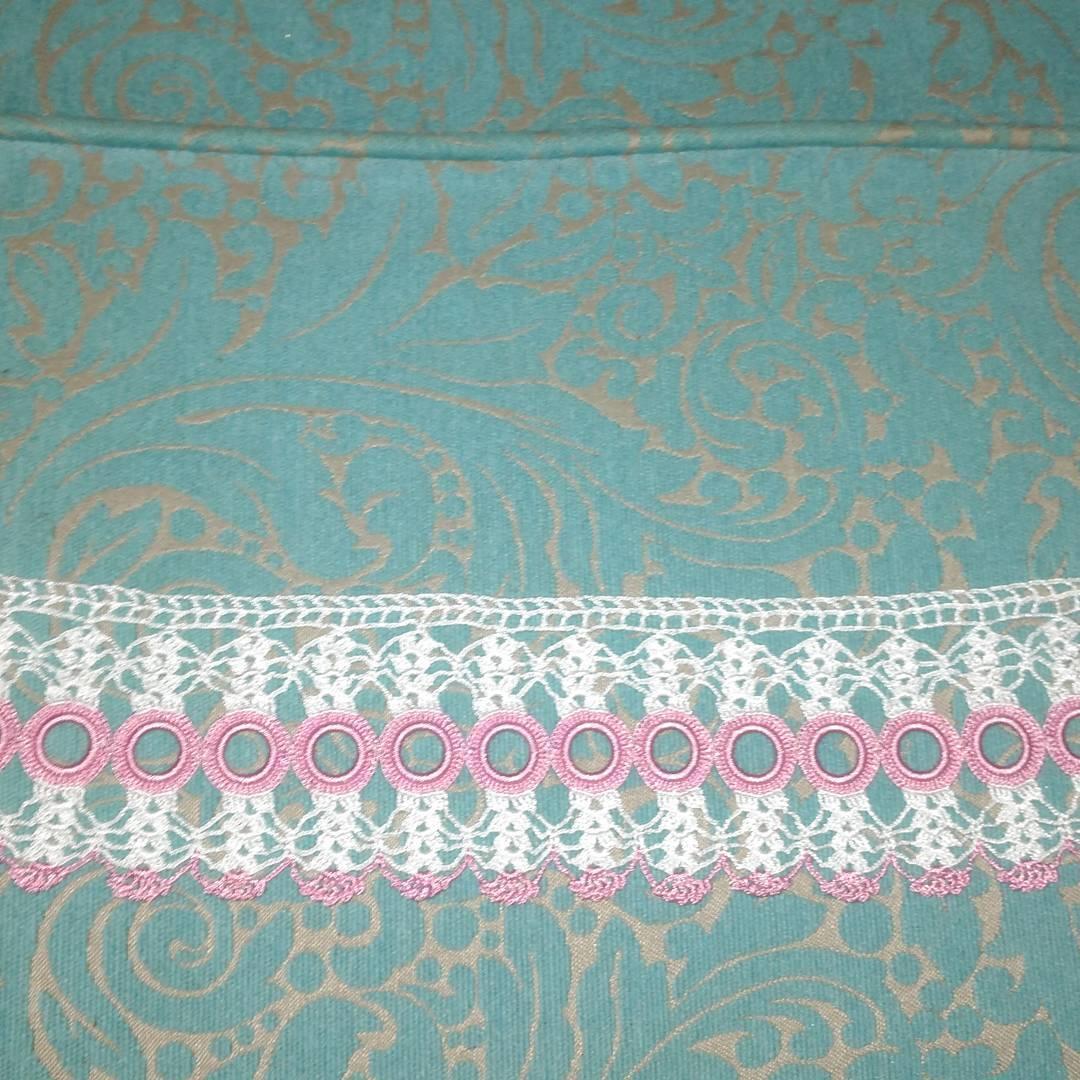 Halkalı pembe beyaz havlu danteli