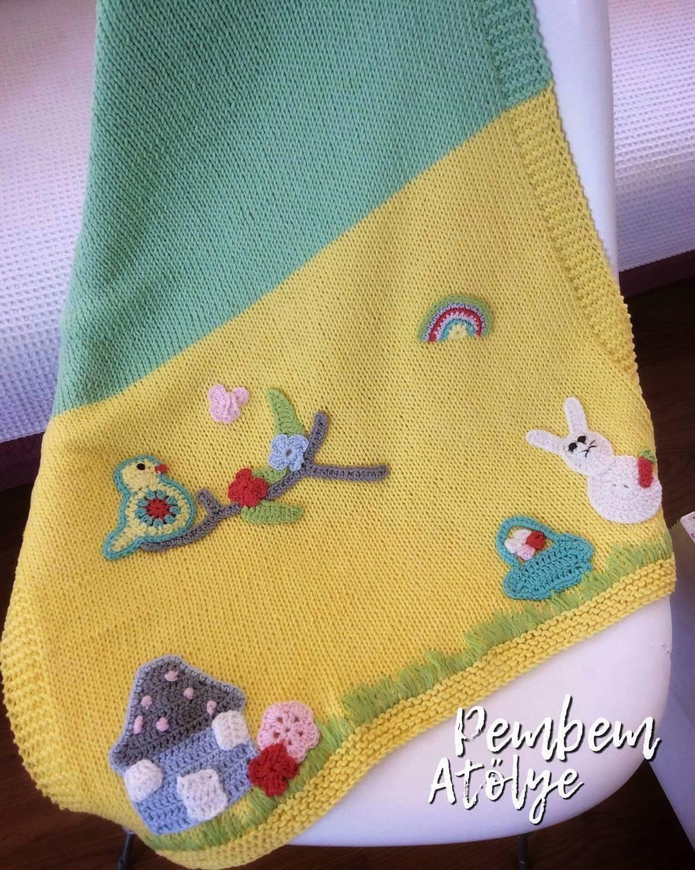 Hayvan motifli bebek battaniyesi