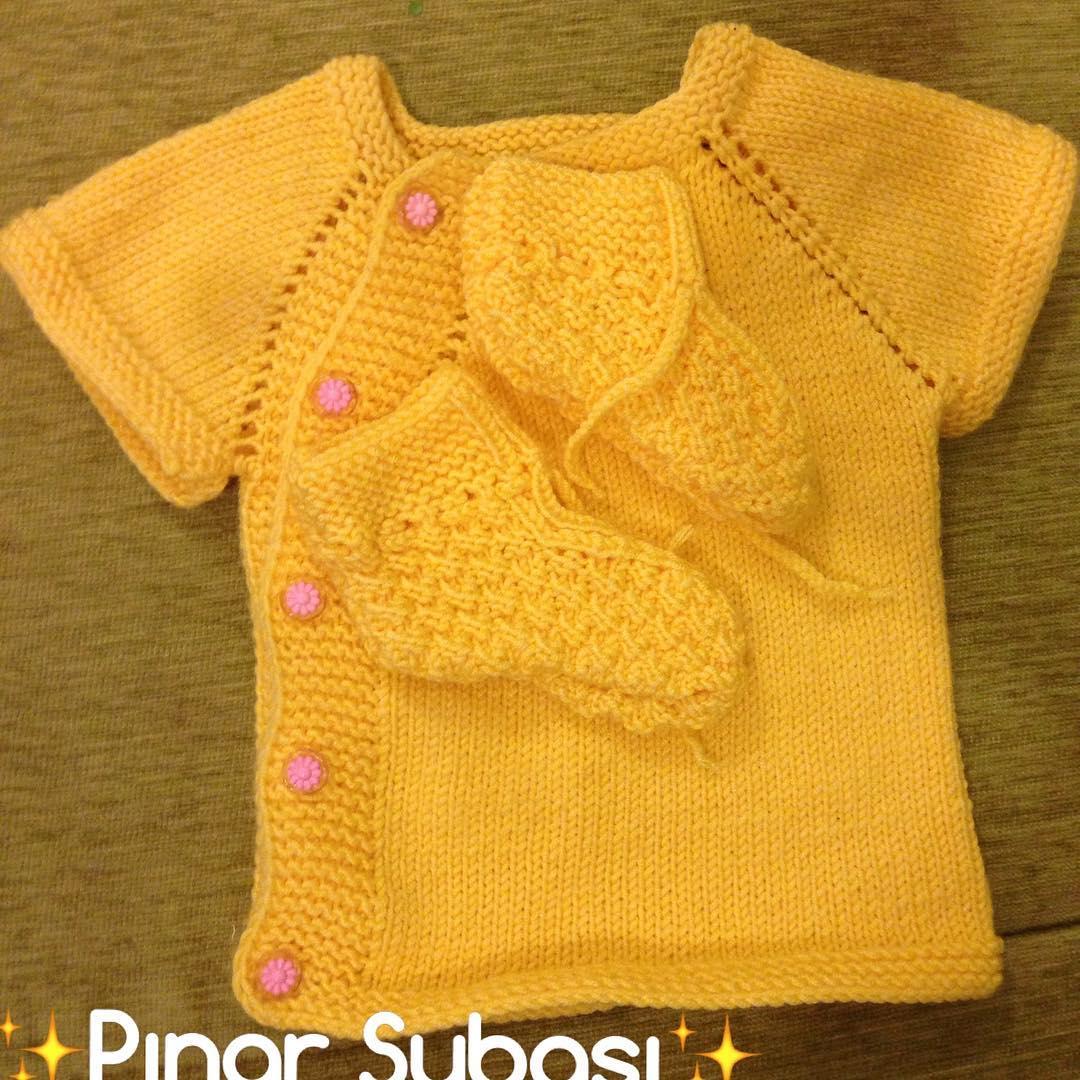 Örgü sarı bebek takımı