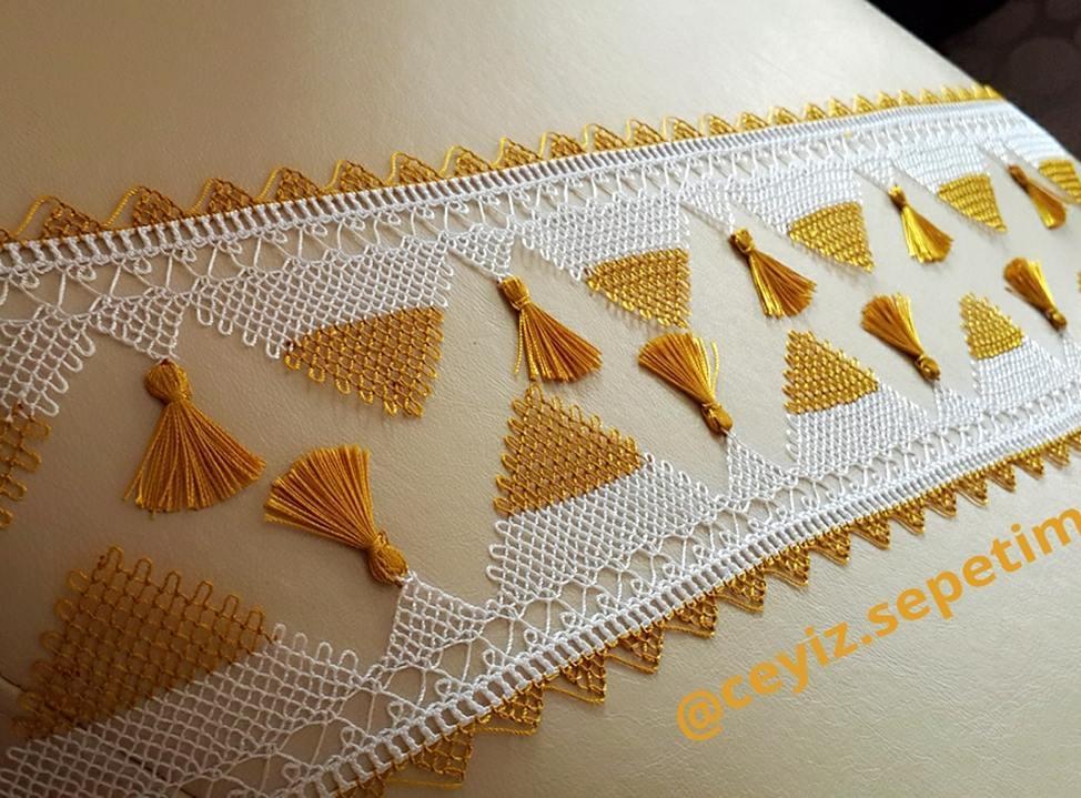 Sarı beyaz havlu kenarı danteli