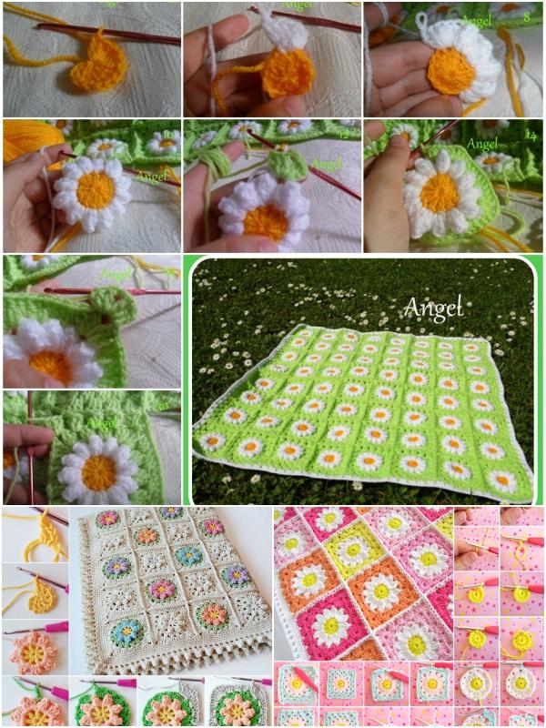 Tığ İşi Çiçekli Bebek Battaniyeleri