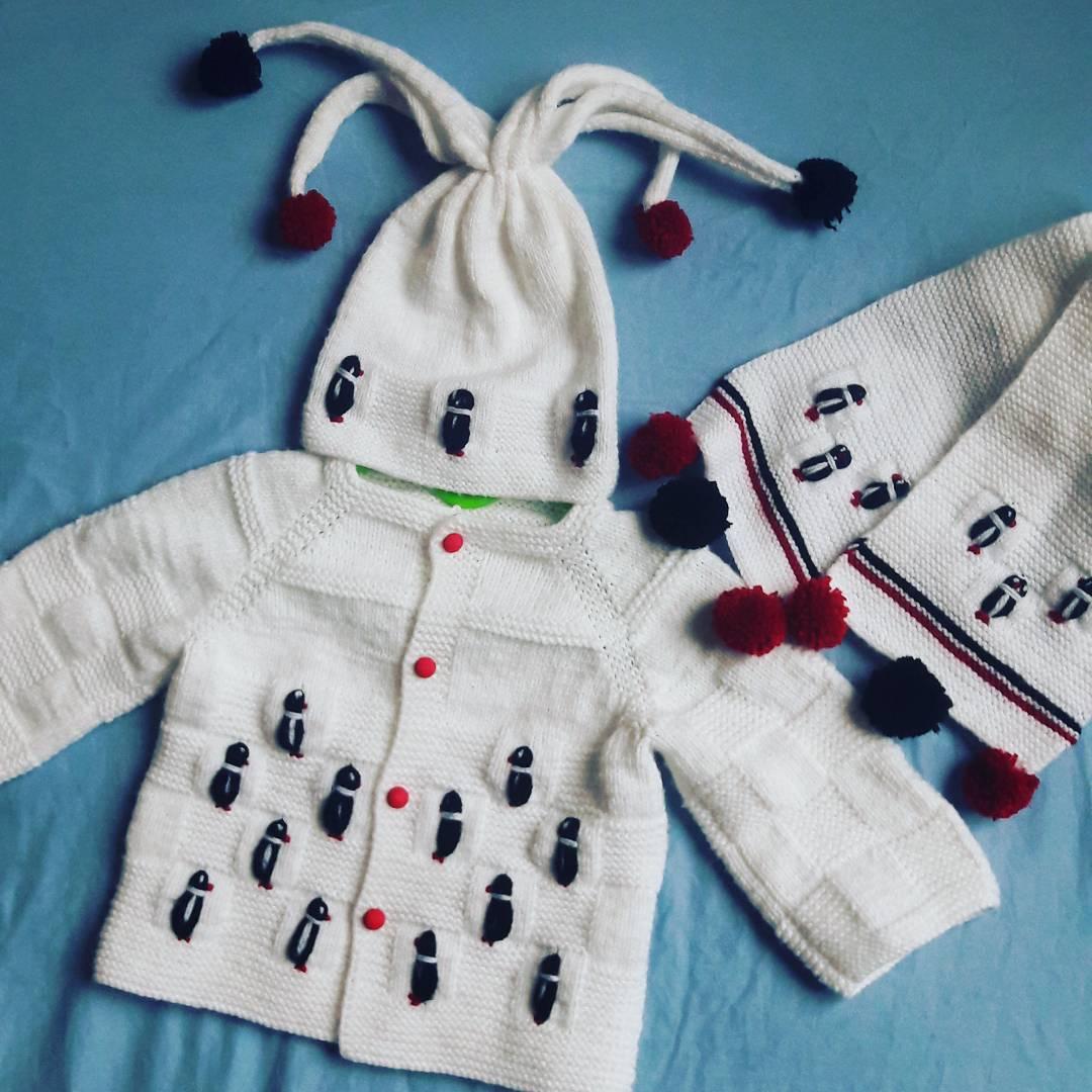 Penguen işlemeli bebek takımı